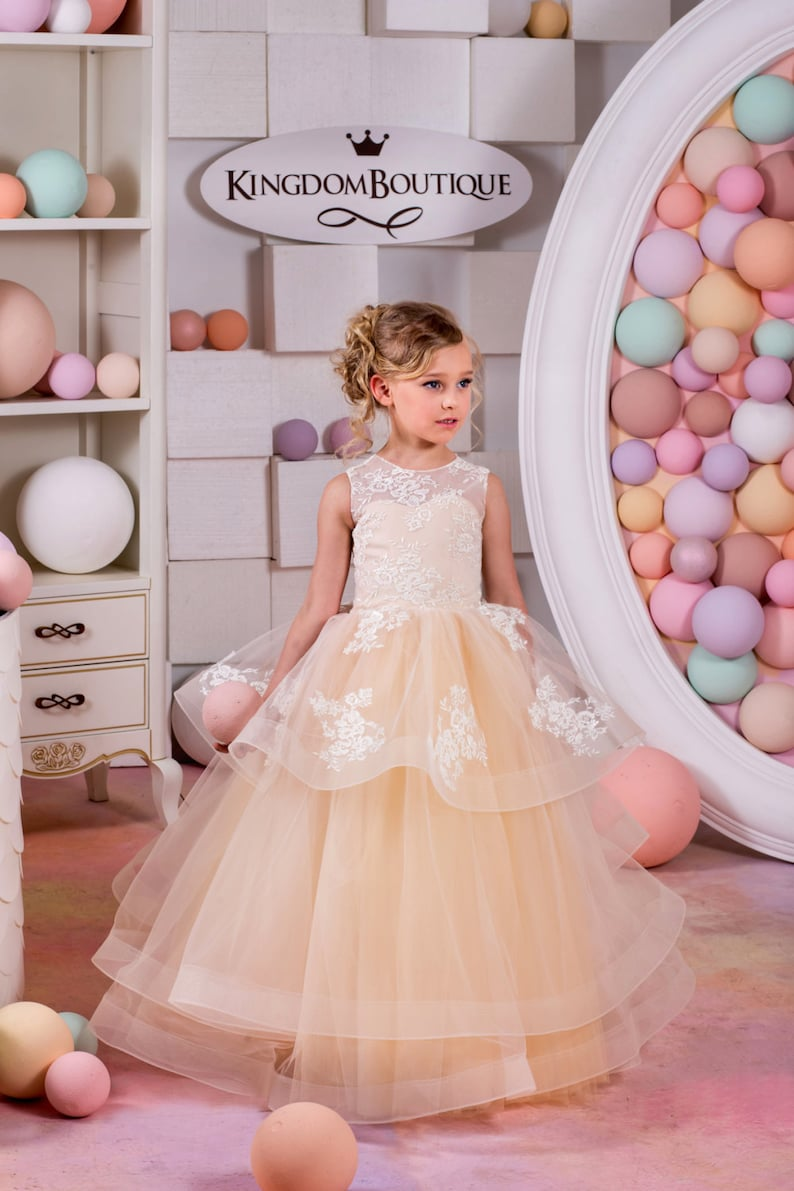 bd5ca93c0d616 Blush Beige Lace Tulle Flower Girl Dress Birthday Wedding | Etsy