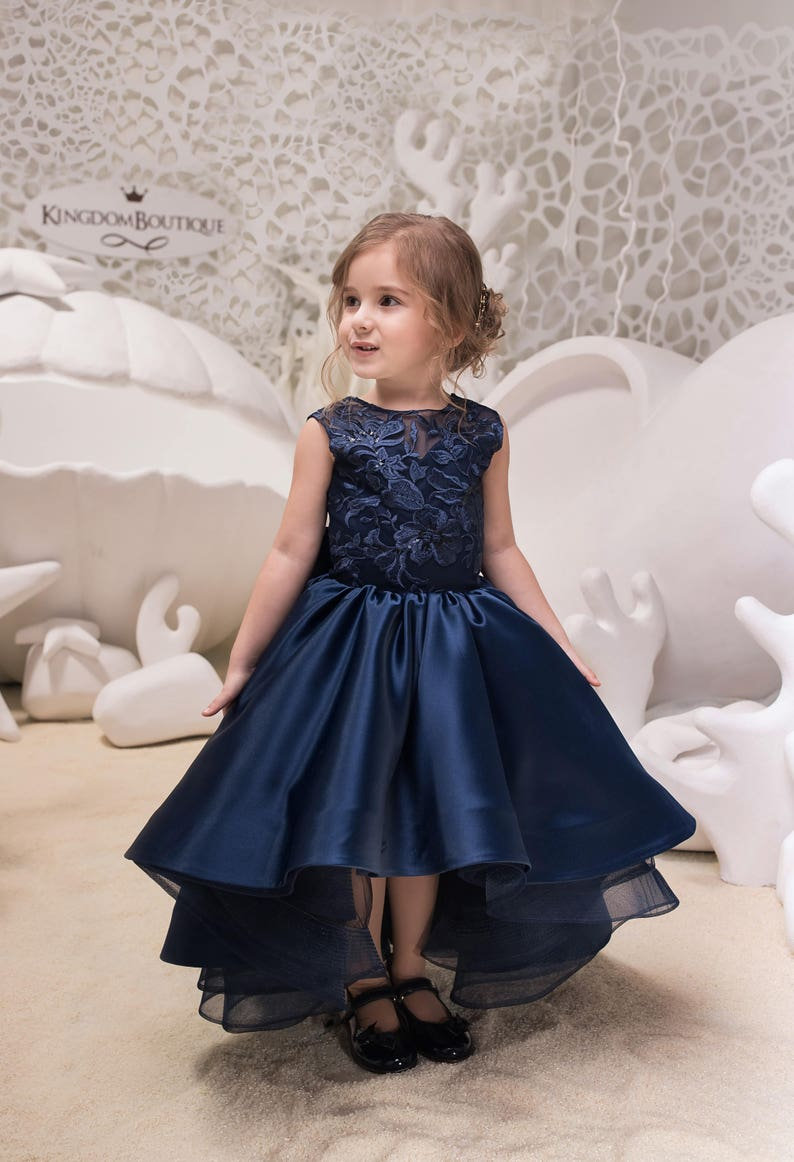 cc38f73cd67c Navy Blue High Low Satin Flower Girl Dress Wedding Holiday