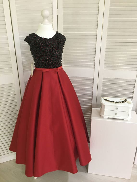 Red And Black Flower Girl Dress Birthday Wedding Party Etsy
