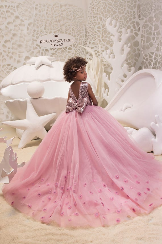 Erröten rosa Blumenmädchenkleid mit funkelnden Pailletten | Etsy