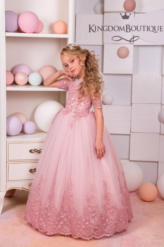 Blush pink lace tulle flower girl dress wedding party etsy image 0 mightylinksfo