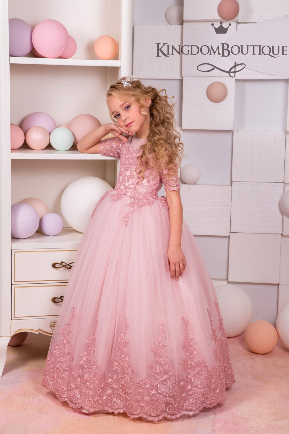 Blush Pink Lace Tulle Flower Girl Dress Wedding Party Etsy