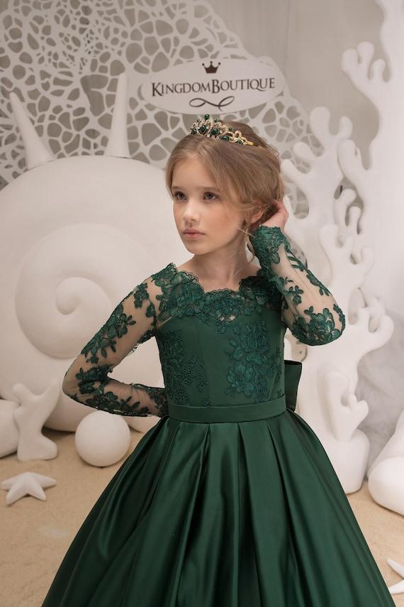 Smaragd Grün Blumenmädchenkleid Brautkleid Urlaub Partei | Etsy