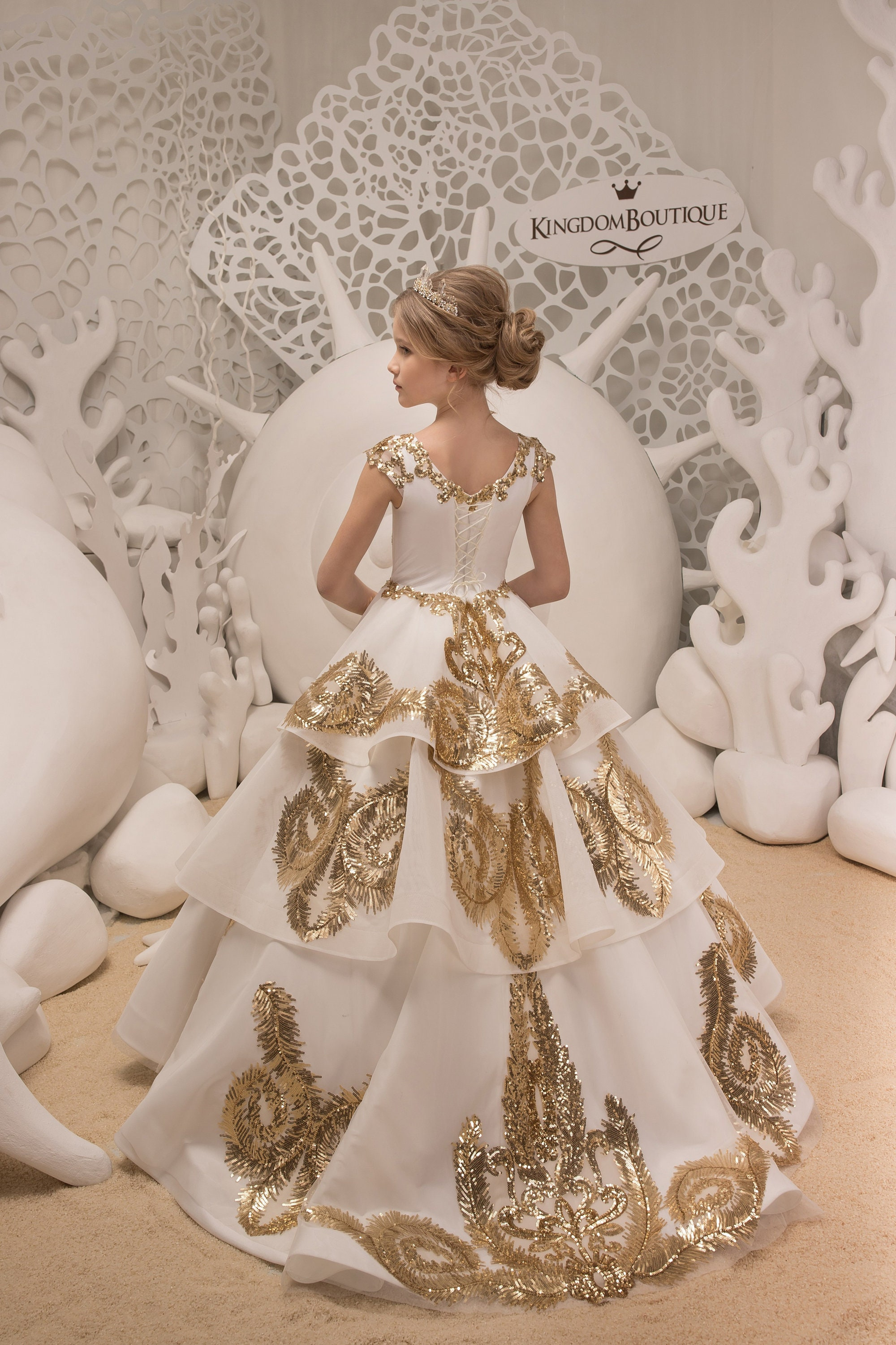 838daf3eee Lace Ivory and Gold Flower Girl Dress Birthday Bridesmaid