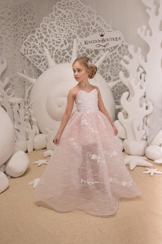 Erröten Sie rosa Blumenmädchenkleid Geburtstag-Hochzeit