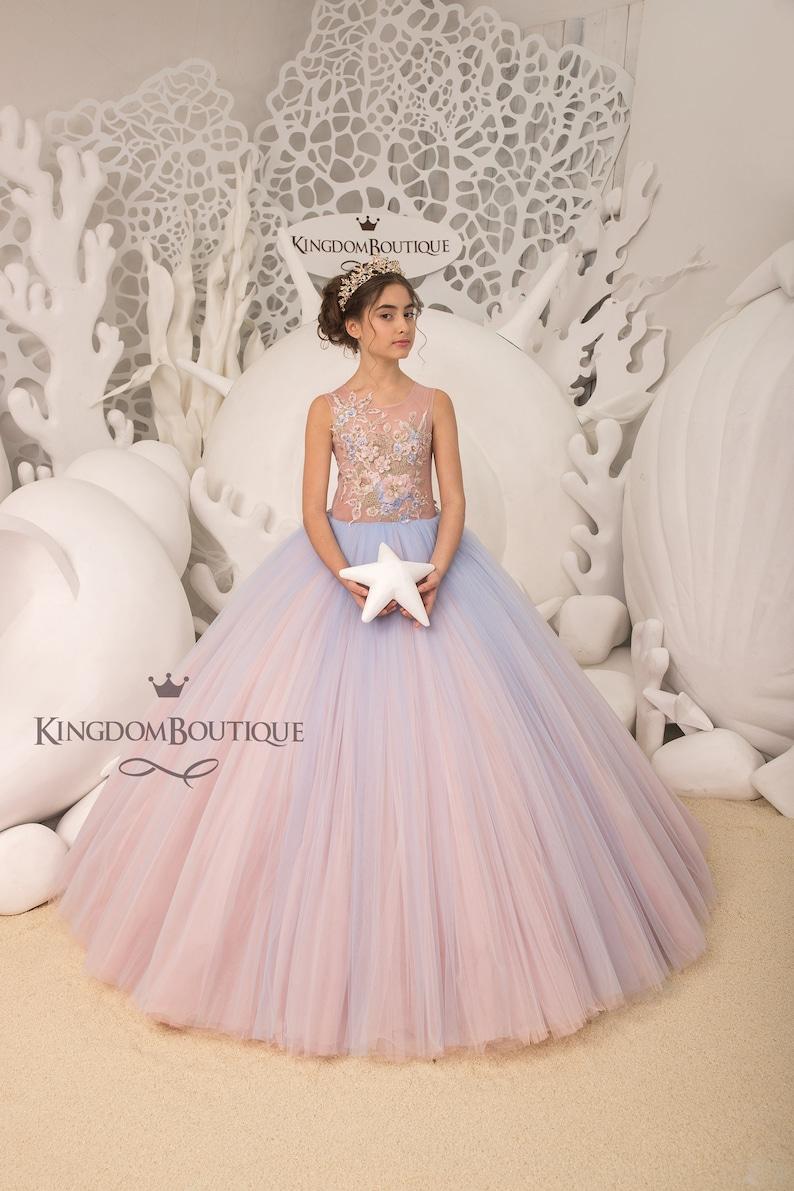 e0fa33f19 Blush pink and Light blue Flower Girl Dress Birthday Wedding | Etsy