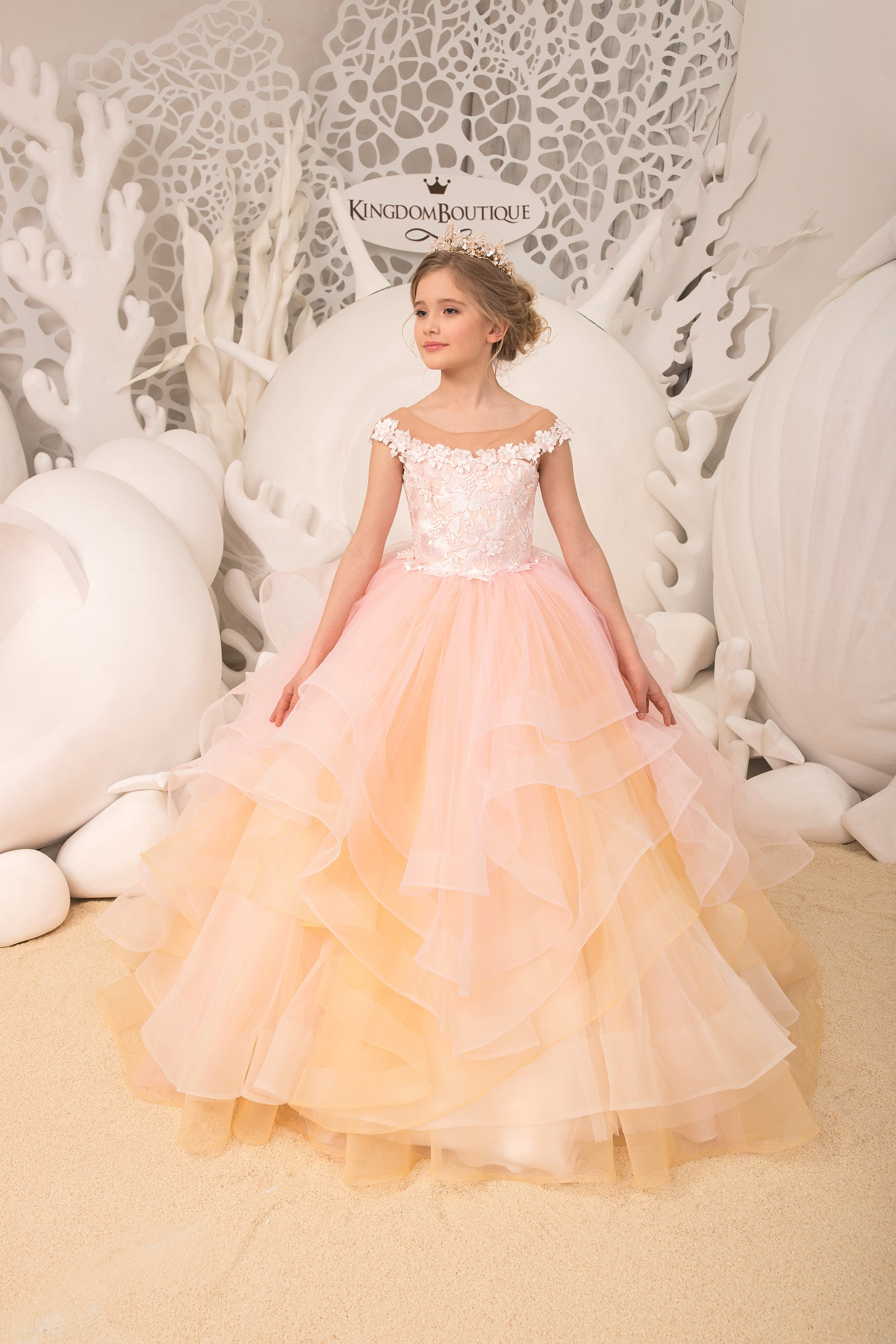 fb4173765f Blush pink and Gold Flower Girl Dress Birthday Wedding party