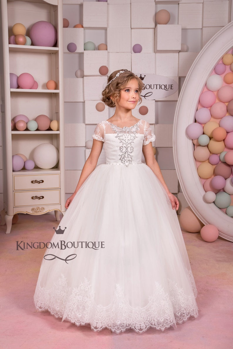 9aa973e48 Ivory Lace Flower Girl Dress Wedding Party Holiday