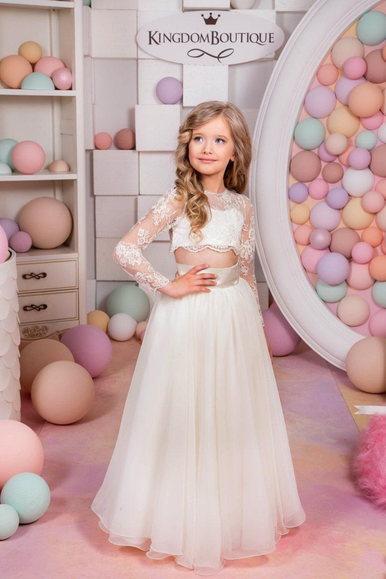f2d843419eae8 Ivory Flower Girl Dress Birthday Wedding Party Holiday   Etsy