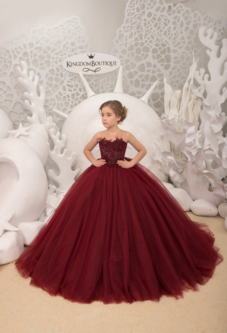 Maroon lace tulle formal flower girl dress for special Maroon