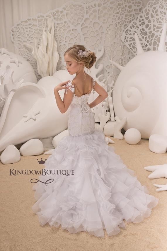02960d4fa43 White Flower Girl Mermaid style Dress Wedding Party
