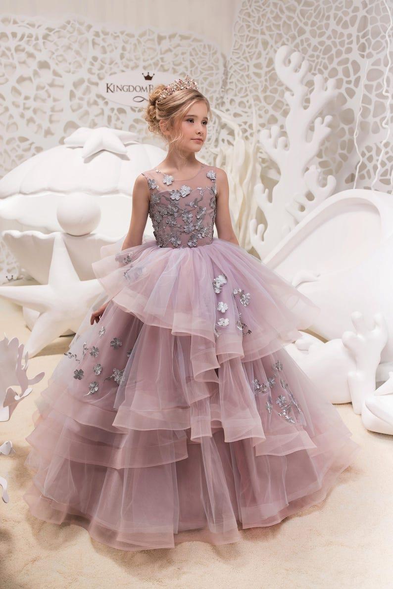 Jurk Bruiloft Roze.Grijs En Roze Bloemenmeisje Jurk Verjaardag Huwelijksfeest Etsy