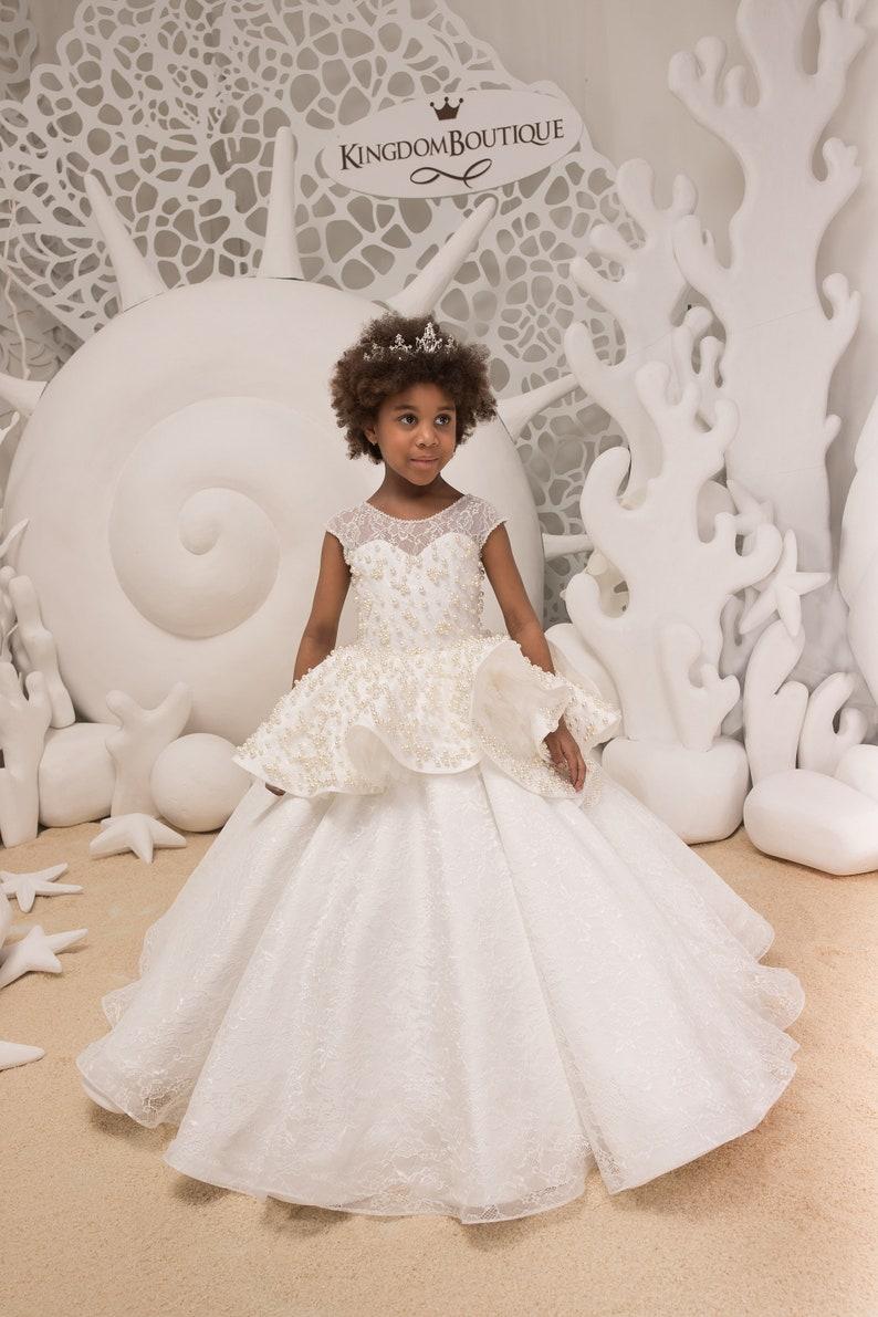 de96b3fa8c7a8 Lace Ivory Flower Girl Dress Birthday Bridesmaid Wedding   Etsy