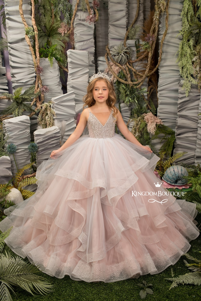 Blush Pink Gray tulle formal flower girl dress for special image 0