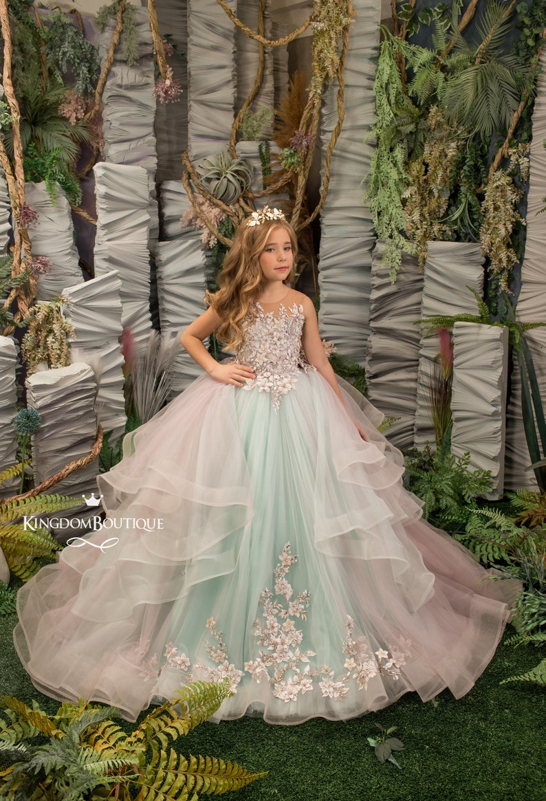 Mint lilac lace tulle formal flower girl dress for special image 0