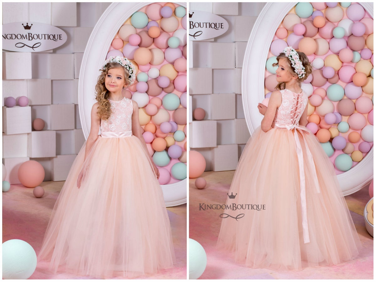 Blush Flower Girl Dress Birthday Bridesmaid Holiday Wedding