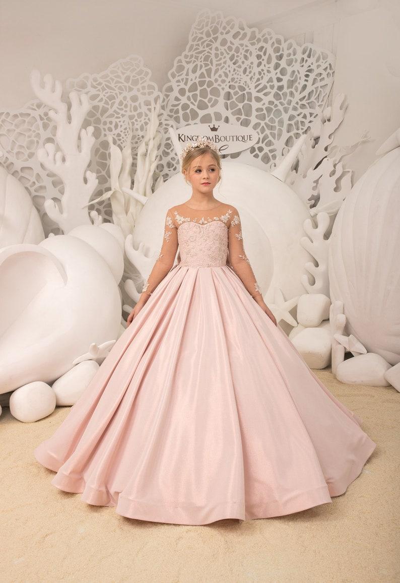 fc5b31175053 Blush pink Flower Girl Dress Birthday Wedding party | Etsy