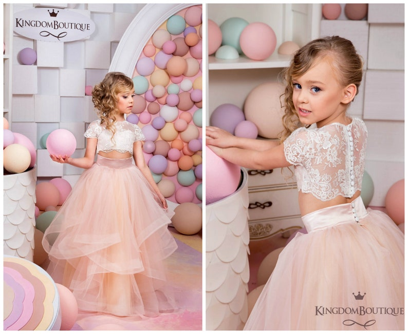 Ivory And Blush Pink Flower Girl Dress Birthday Wedding Etsy