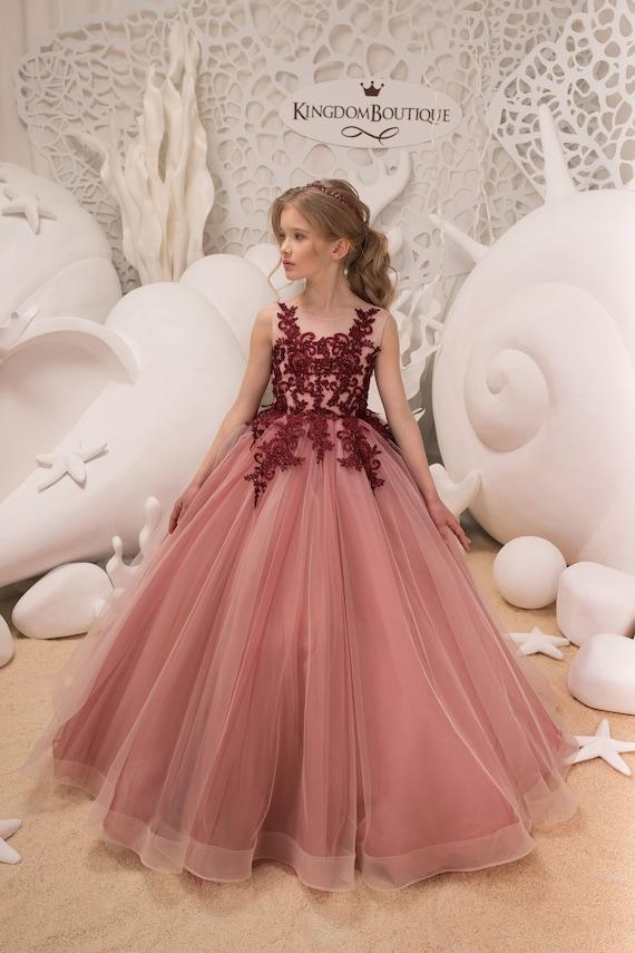 Blush rosado y marrón flor chica vestido boda fiesta
