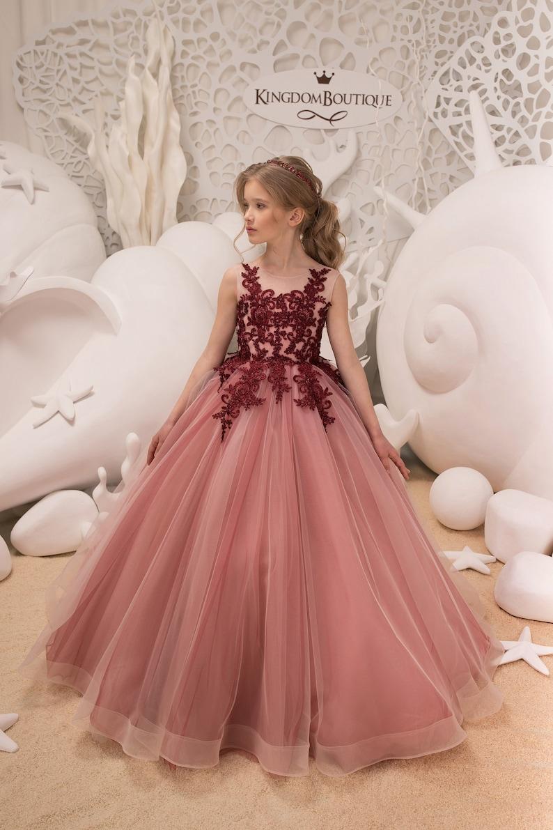 6f1edbb24da5 Blush Pink and Maroon Flower Girl Dress Birthday Wedding Party | Etsy