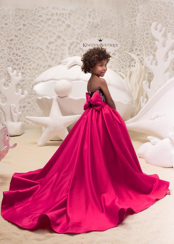 check out 193ed 24254 Fucsia e nero fiore vestito ragazza - compleanno matrimonio vacanza partito  da damigella fiore ragazza fucsia e nero Tulle Pizzo Abito 21-062
