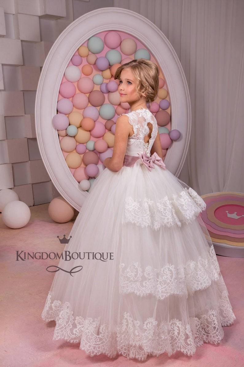 Ivory lace tulle satin formal flower girl dress for special image 0