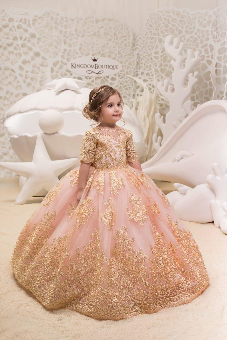 Roze BruiloftEtsy Bloemenmeisje En Jurk Gouden Blozen Verjaardag yYbf67gv