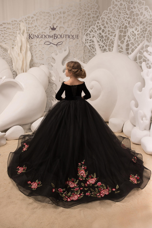 9b40c4ada6 Black Velvet Flower Girl Dress Birthday Wedding party | Etsy