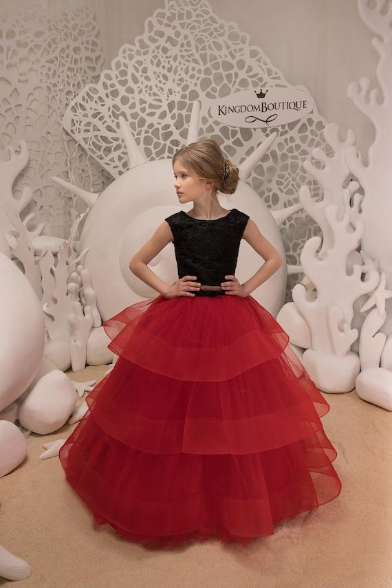 Schwarze und rote Blumen-Mädchen-Kleid Geburtstag Hochzeit