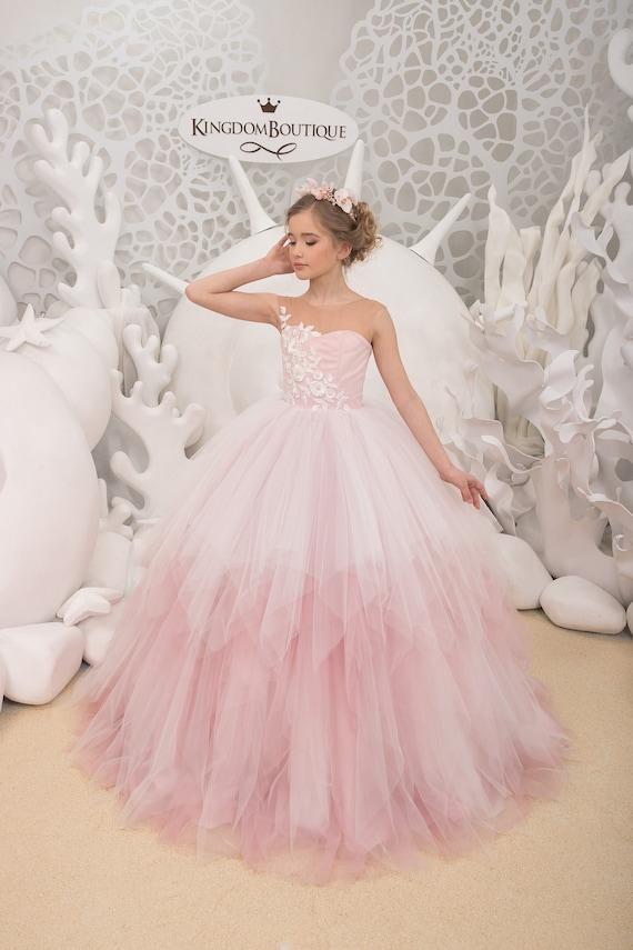 5254a0bf0739 Ivory and Blush Pink Flower Girl Dress Birthday Wedding | Etsy