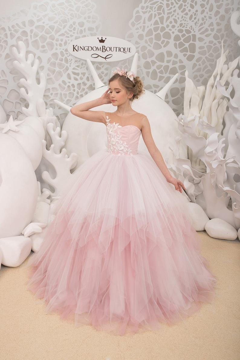 7f6870b71 Ivory and Blush Pink Flower Girl Dress Birthday Wedding