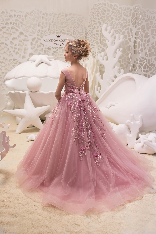 Blush color rosa niña de las flores vestido de fiesta de | Etsy