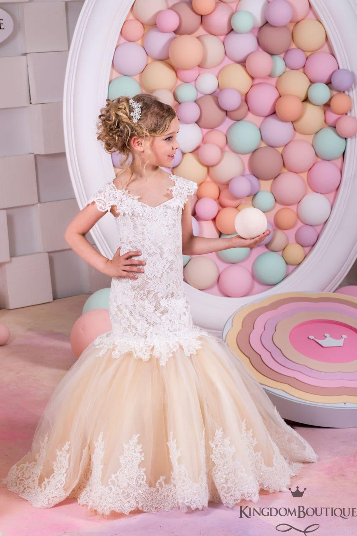 Vestido estilo sirena marfil y Cappuccino niña de las flores | Etsy