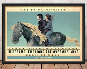 Science of Sleep Poster - Quote Retro Movie Poster - Movie Print, Film Poster, Wall Art, Movie Art