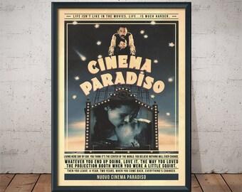 Nuovo Cinema Paradiso Poster - Quote Retro Movie Poster - Movie Print, Film Poster, Wall Art
