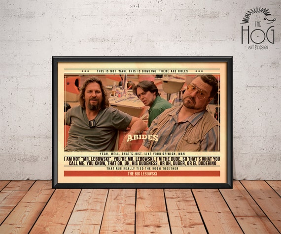 Big Lebowski Quotes: The Big Lebowski Poster Quote Retro Movie Poster Movie