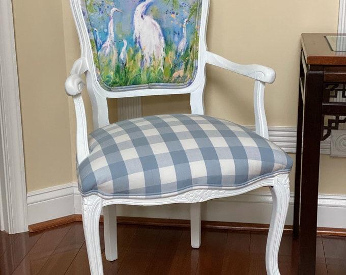 Coastal Egret Custom Upholstered Chair