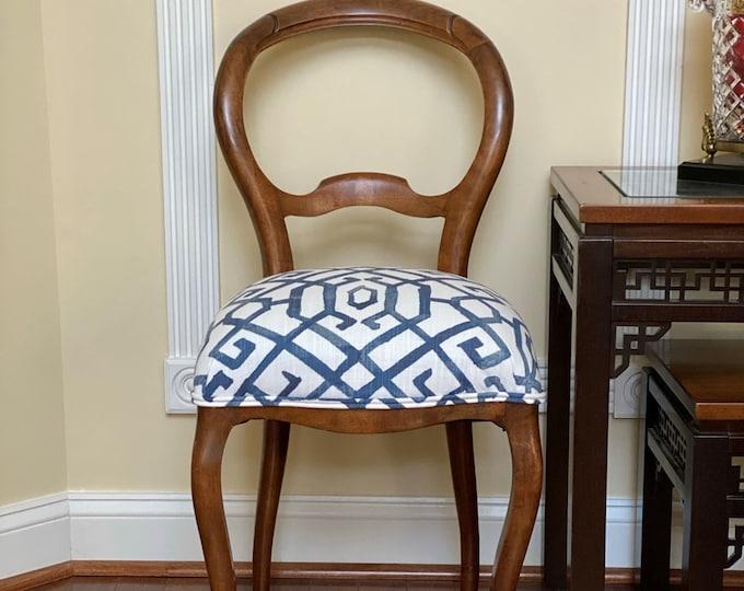 Blue Lattice Custom Upholstered Chair