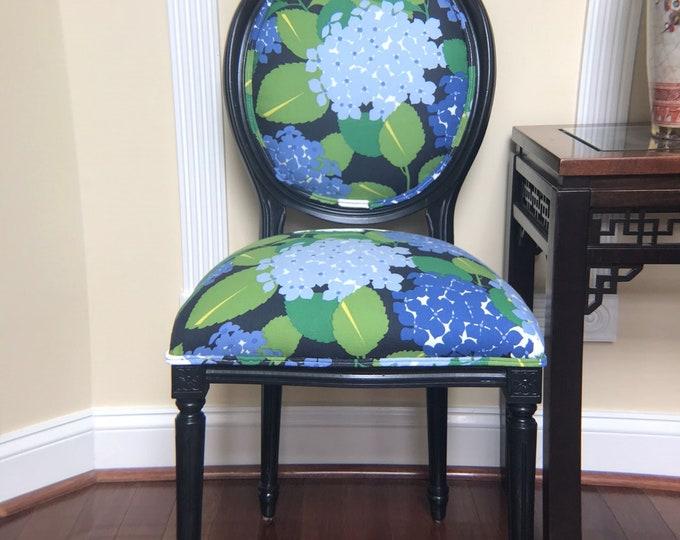SOLD Hydrangea Custom Upholstered Chair