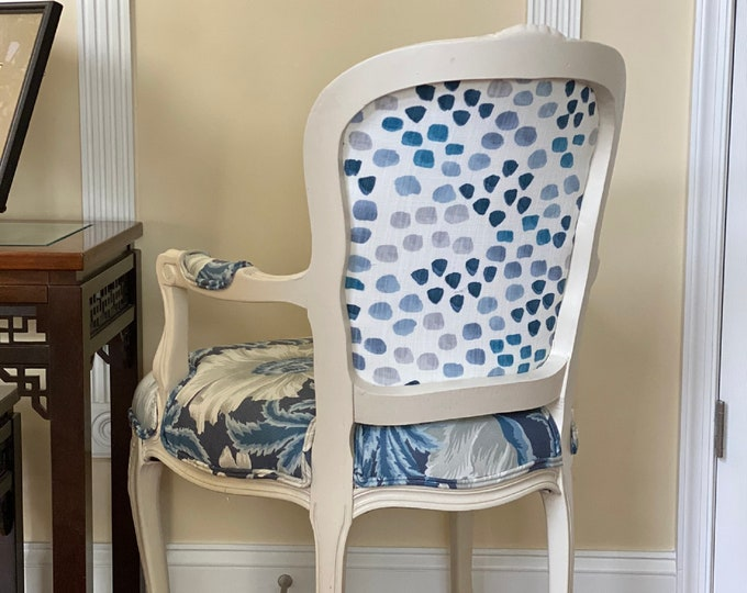 Indigo Floral Custom Upholstered Chair