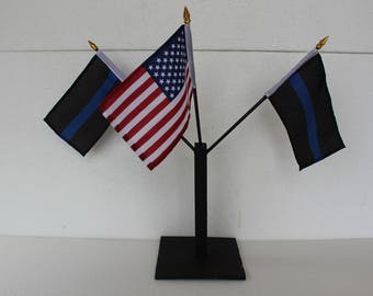 2 Police Thick BLue Line & USA Flag Display And Stand