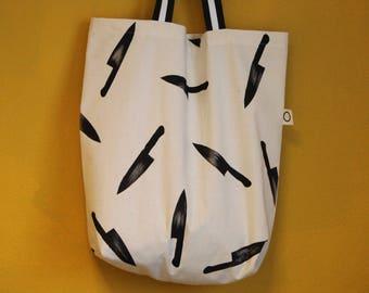 Majstudio handmade handprinted tote bag knife pattern