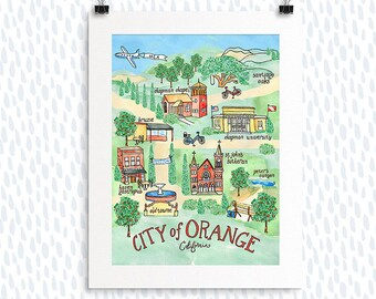 Orange California Map Print, Illustration, City Map, Painted Map, Hand-lettered Watercolor Map, Going Away Gifts, House Warming Gifts