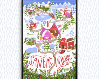 Santa's Village, Illustrated Map, Christmas Decor, Christmas Decoration, Holidays, Christmas Art, Holiday Art, Santa Art Print, Winter Decor