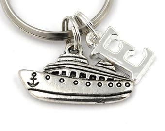 customized monogram initial keychain Cruise ship keychain cruise ship charm personalized keychain initial charm nautical keychain