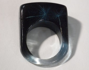 Dandelion Resin Ring!  Dandelion Seeds float is black/blue resin to create this fashion Resin ring.  Wishing Seeds Ring, Real Dandelion Ring
