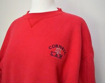 241c8595 Vintage Cornell Law Sweatshirt | Vintage Red College Pullover Sweatshirt