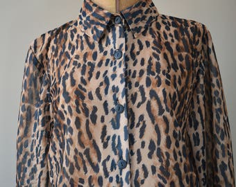 80s Vintage Willow Ridge Blouse | Vintage Cheetah Animal Print Top