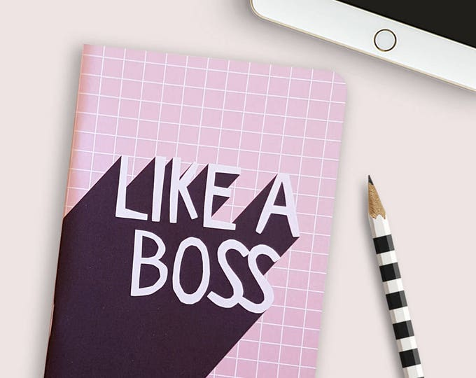28 page Like a Boss notebook in pink