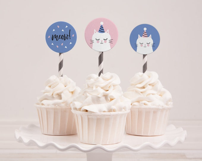 "Instant download - Kitty cupcake toppers to print yourself // pink and blue kitty cat cake toppers 2"" circles DIY"